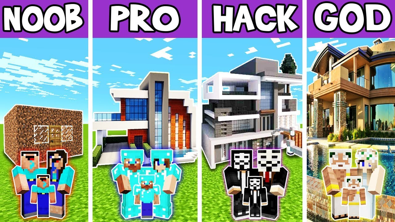 Minecraft: FAMILY MODERN PRESIDENT HOUSE BUILD CHALLENGE - NOOB vs PRO vs HACKER vs GOD