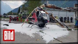 Helikopter berührt beim Start Gebäude - Totalschaden / Keine Verletzten