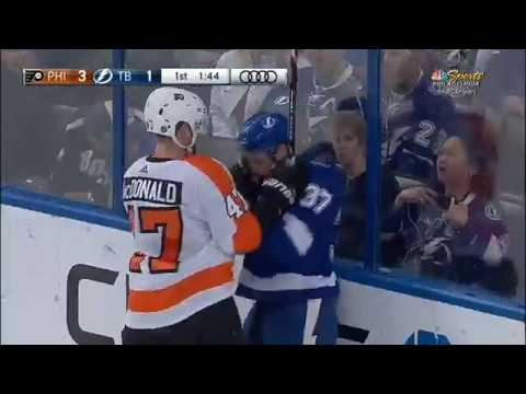 Tampa Bay Lightning: Yanni Gourde Fights Andrew MacDonald