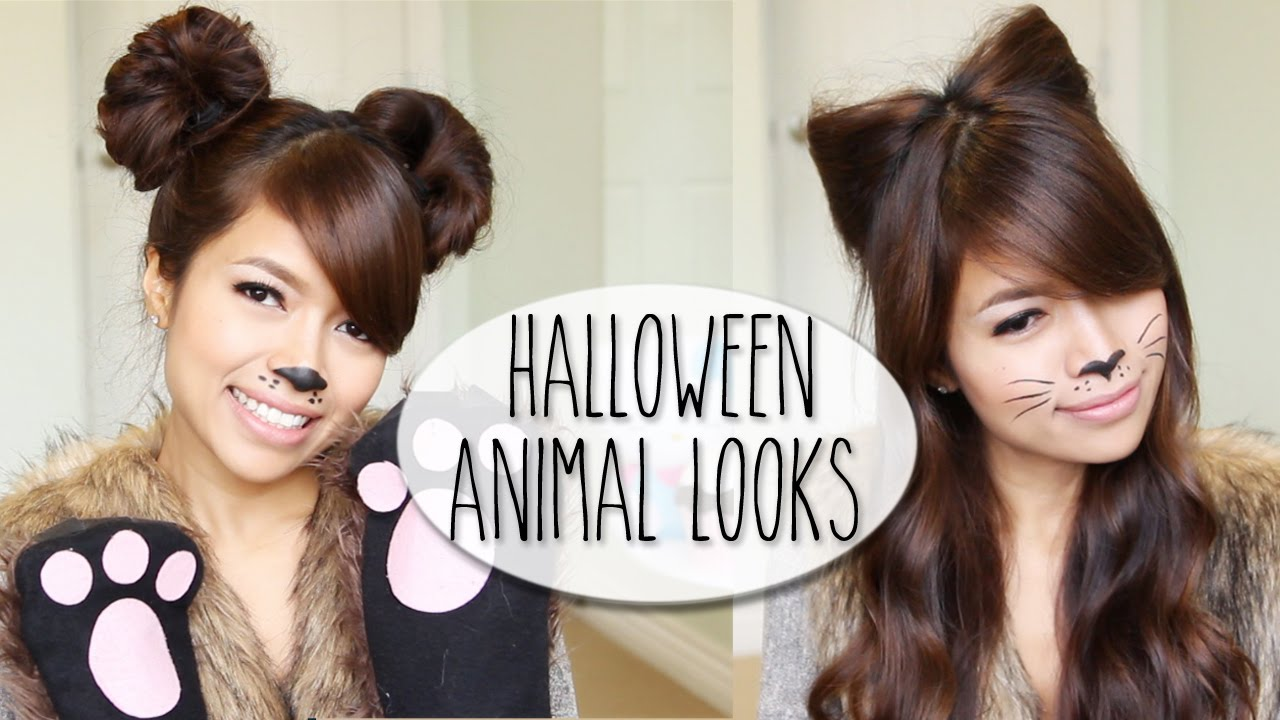 diy halloween costume ideas bear cat ears hairstyle makeup tutorial youtube