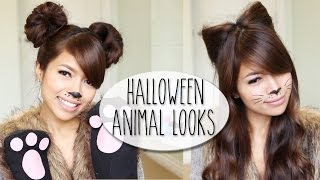 DIY Halloween Costume Ideas | Bear & Cat Ears Hairstyle & Makeup Tutorial Thumbnail