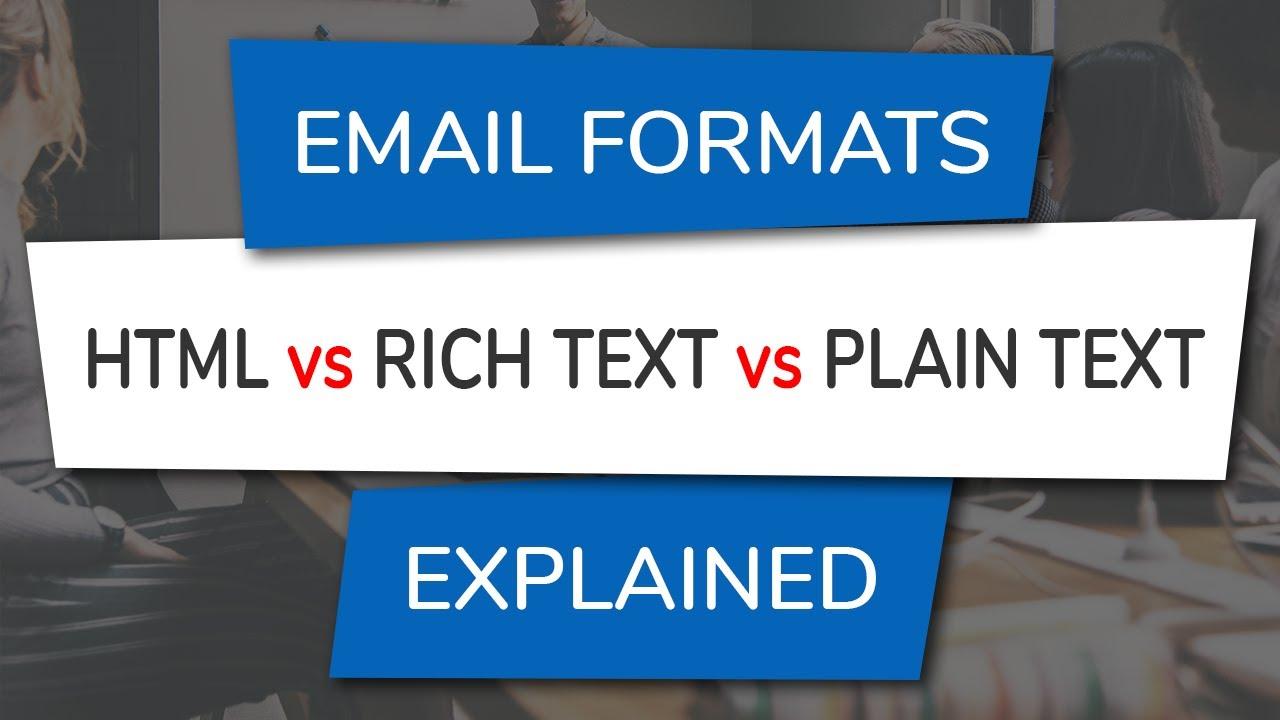 HTML vs Rich Text vs Plain Text Email Formats | Gimmio