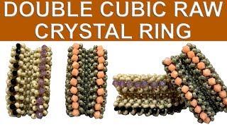 Çiftli Cubic Raw kristalli yüzük