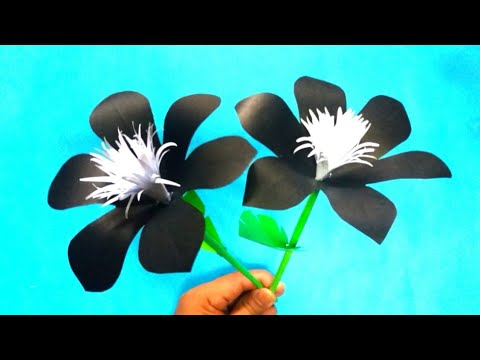 Diy how to make a beautiful and easy  black flower | paper flower idea | paper flower tutorial