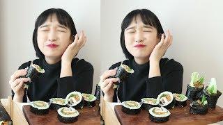 삼겹살 김밥 먹방 _ 통 김밥 맛있는데 턱 아프다 :D