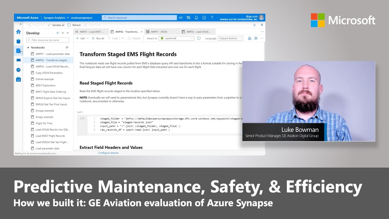 Azure Synapse | Predictive Maintenance, Safety, and Efficiency at GE Aviation