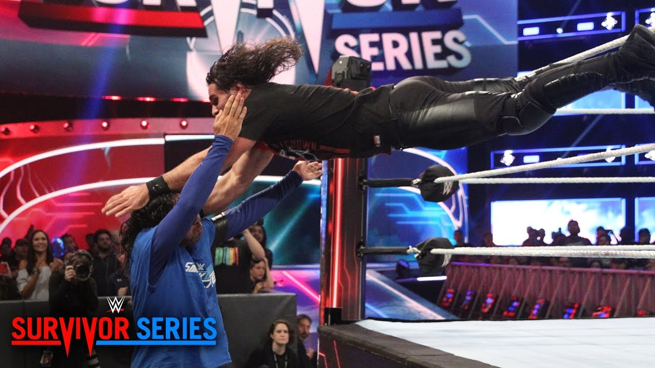 Image result for Seth Rollins throttles Shinsuke Nakamura with 3 dives in a row: Survivor Series 2018