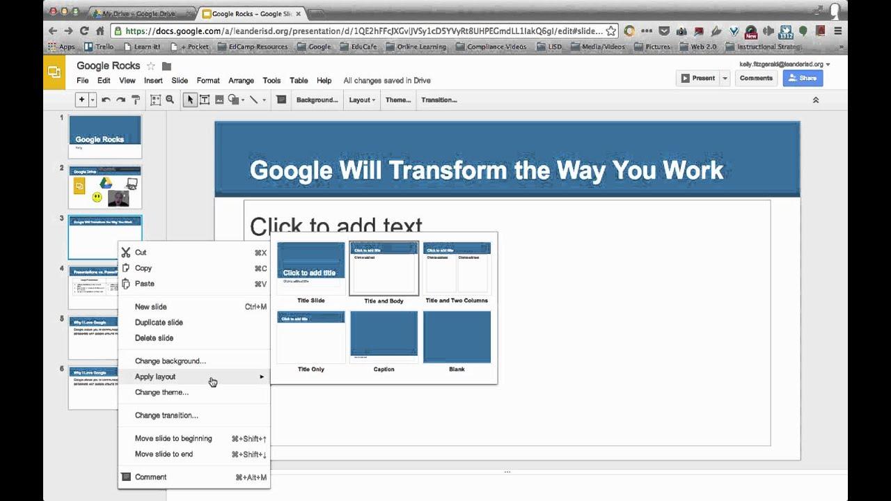 changing slide layout google presentations slides youtube