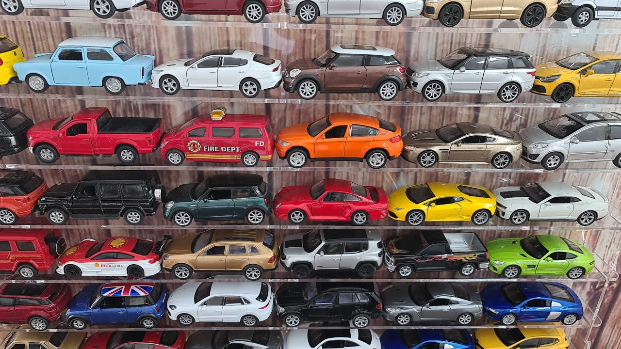 Various cars review from car shelf for car fans