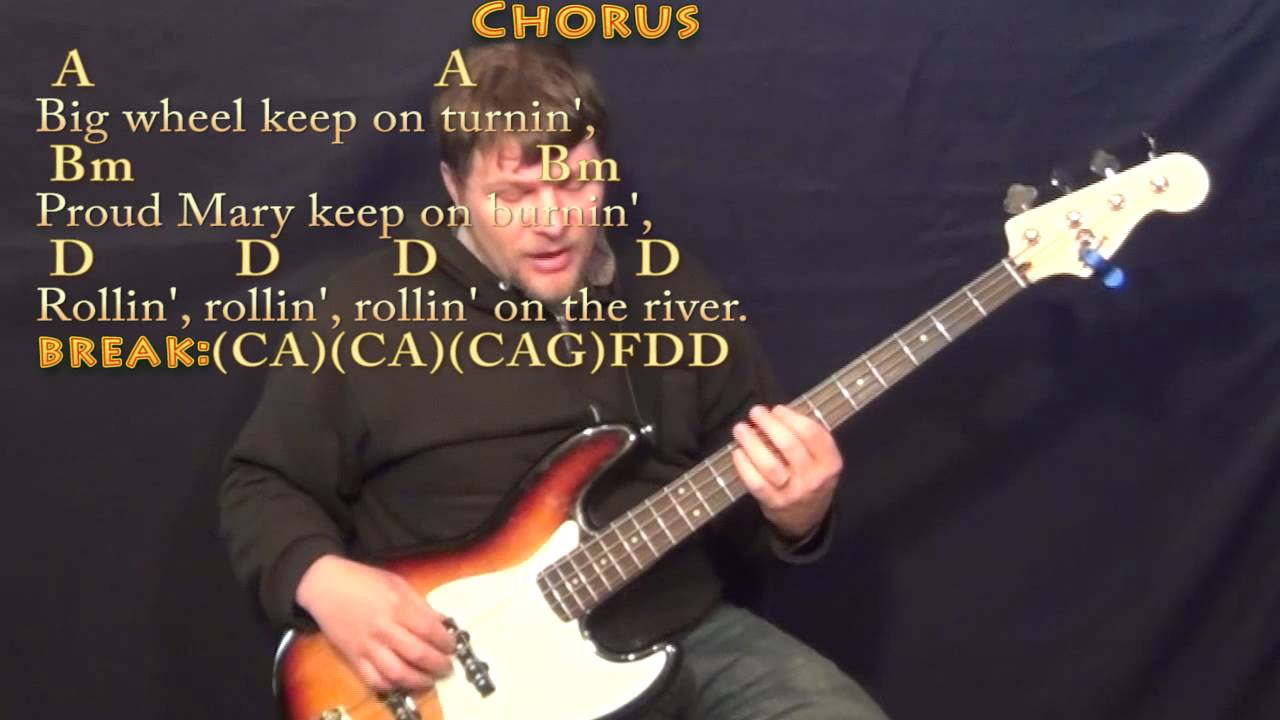 Proud Mary Ccr Bass Guitar Cover Lesson With Chordslyrics Youtube
