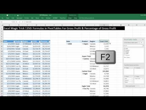 Excel Magic Trick 1350: Formulas in PivotTables For Gross Profit & Percentage of Gross Profit