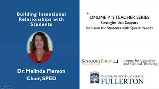 K12 Online Teaching Webinars: Building Intentional Relationships with Students