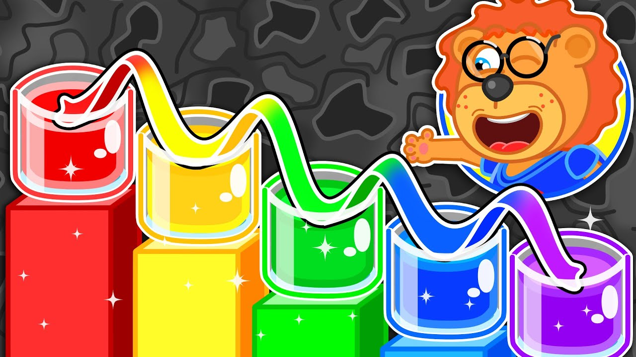 Learns Colors with Rainbow Water #2. DIY Science Experiment for Kids | Lion Family | Cartoon for Kid