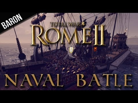 Total War:  Rome 2 - Rome vs Carthage Naval Battle Gameplay (Ramming and Boarding Tactics)