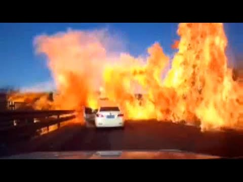 Highway engulfed in 160 feet of hellfire after gas tanker spill
