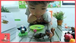 진짜 매미 나타났어요. 다람쥐 호랑이 쿵푸팬더 장난감 친구들 놀이 ♡ 곤충 매미 집 만들기 real cicada play with kids | 말이야와아이들 MariAndKids