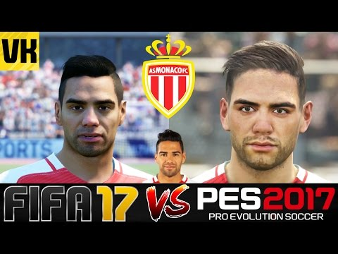 FIFA 17 VS PES 2017 VS REAL LIFE MONACO PLAYER FACES COMPARISON (Falcao, Subasic etc)