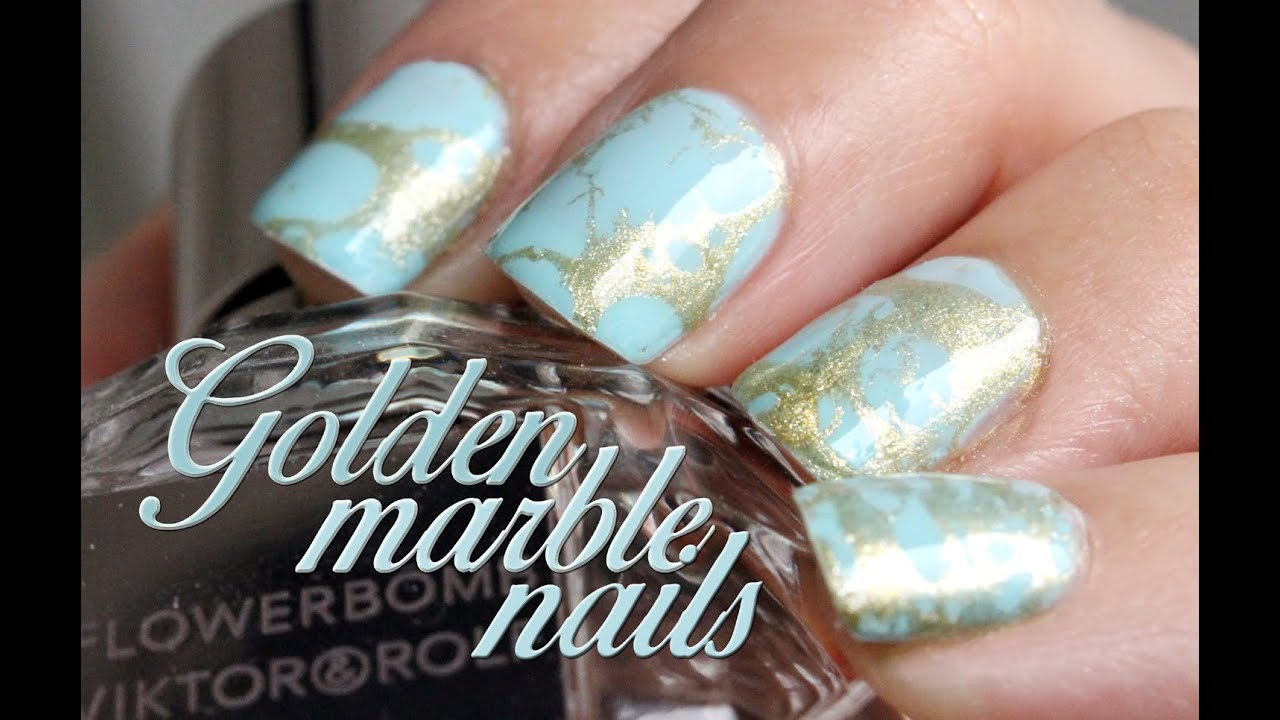 Cute Golden Marble Nails Youtube