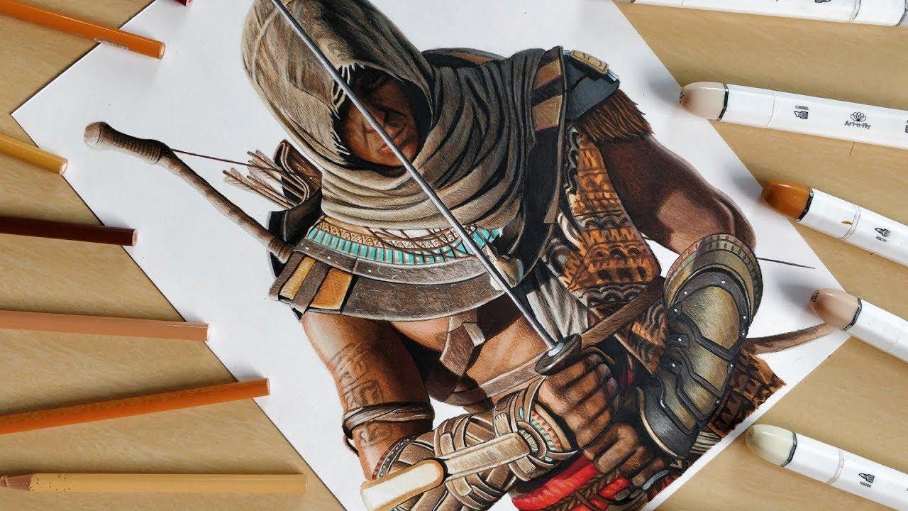 Speed Drawing Bayek Of Siwa Assassin S Creed Origins Youtube