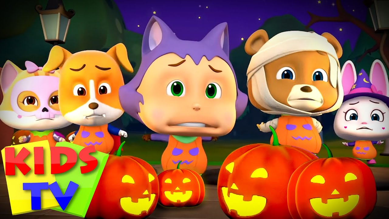 Five little Pumpkins | Halloween Scary Cartoon for Babies | Spooky Hide & Seek Song | Kids Tv