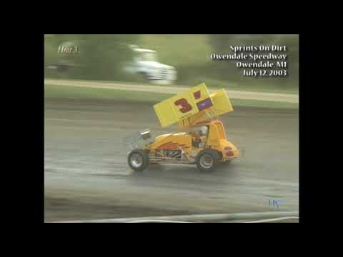 Full race from the SOD sprints at Silver Bullet Speedway in Owendale, MI July 12, 2003. Steve Irwin takes the feature win. - dirt track racing video image