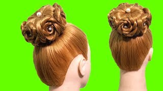 Wedding hairstyle for long hair tutorial 🌺 Hair made rose 🌹 Different Hairstyles for Party 🍀 Updo
