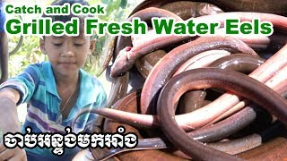 Catch and cook Fresh Water Eel ចាប់អន្ទង់មកអាំងទឹកដូង from Rathanak Vibol Yong Ye