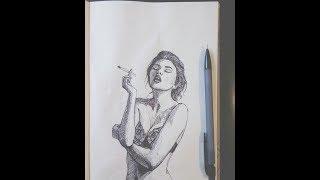 Как нарисовать голую женщину шариковой ручкой видеоурок искусство рисования Абсурдофелия лайфхаки