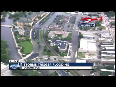 Aerial view of Burlington, Wisconsin flooding