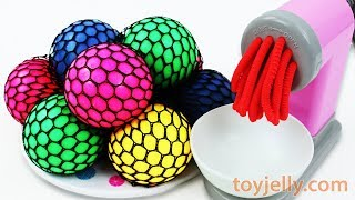 Learn Colors with Squishy Mesh Balls and Play Doh Pasta Spaghetti Making Machine Toys Fun for Kids