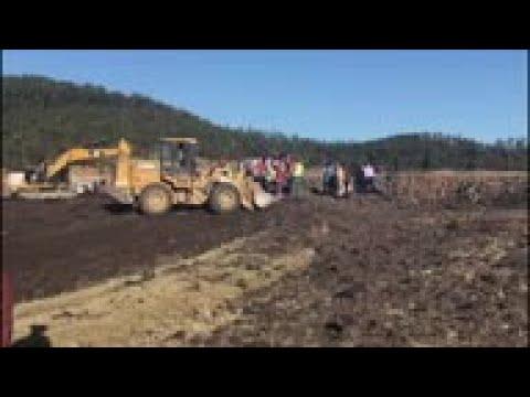 Bulldozer, debris at Ethiopia plane crash site