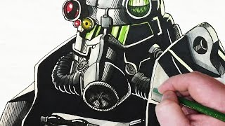 Let's Draw Fallout Power Armor - Brotherhood of Steel