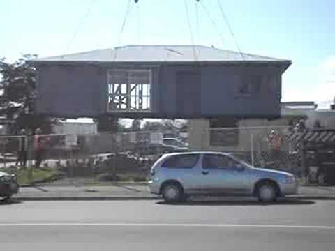 House lifted by crane
