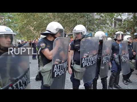 Greece: Scuffles erupt at banned anti-Macron protest in Athens