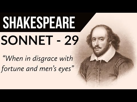 English Poem  Sonnet 29 by WILLIAM SHAKESPEARE  When, in disgrace with fortune and men's eyes
