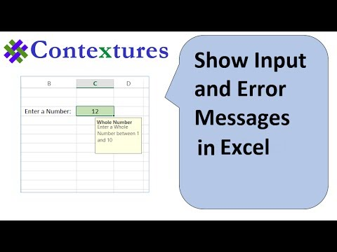Show Input and Error Messages with Excel Data Validation
