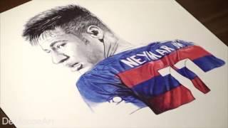 Neymar Jr Pen Drawing   FC Barca   DeMoose Art