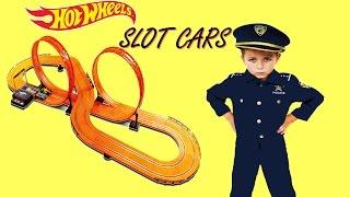 Noisy SANTA delivers Kid Cops HOT WHEELS SLOT CAR TRACK Set