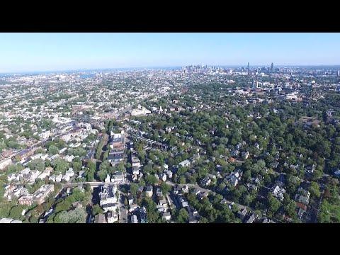 Boston Skyline from Fresh Pond in Cambridge MA, Drone Footage (Full Flight)