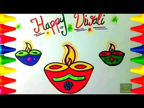 How to draw happy diwali drawing greeting kids deepak also rh youtube
