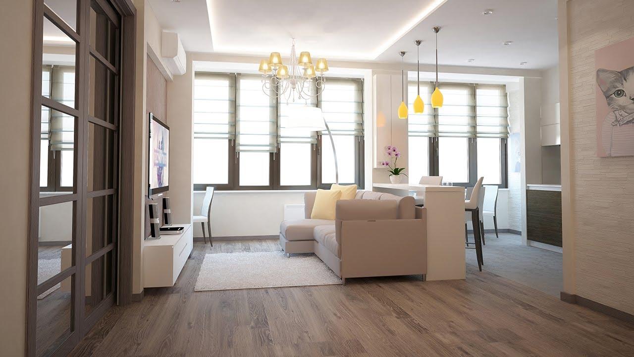 Дизайн интерьера однокомнатной квартиры (г.Киев) - YouTube