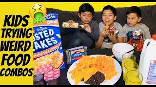 Kids try weird food combinations (cereal with cheese) | kids vs food