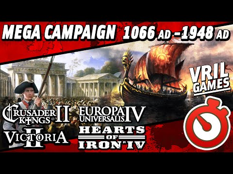 Mega Campaign | CK2 to EU4 to V2 to HoI4 | 1066 AD to 1948 AD Timelapse