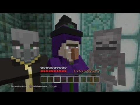 Minecraft Witch,Evoker & all 3 skeletons vs iron golem 1v5