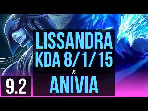 LISSANDRA vs ANIVIA (MID)   KDA 8/1/15, Godlike   Korea Master   v9.2