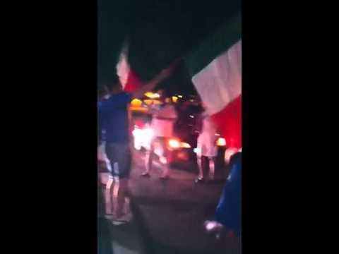 Euro 2012 - semi finale Germania - Italia (1-2) festa con tifosi italiani a Montbeliard - Francia thumbnail