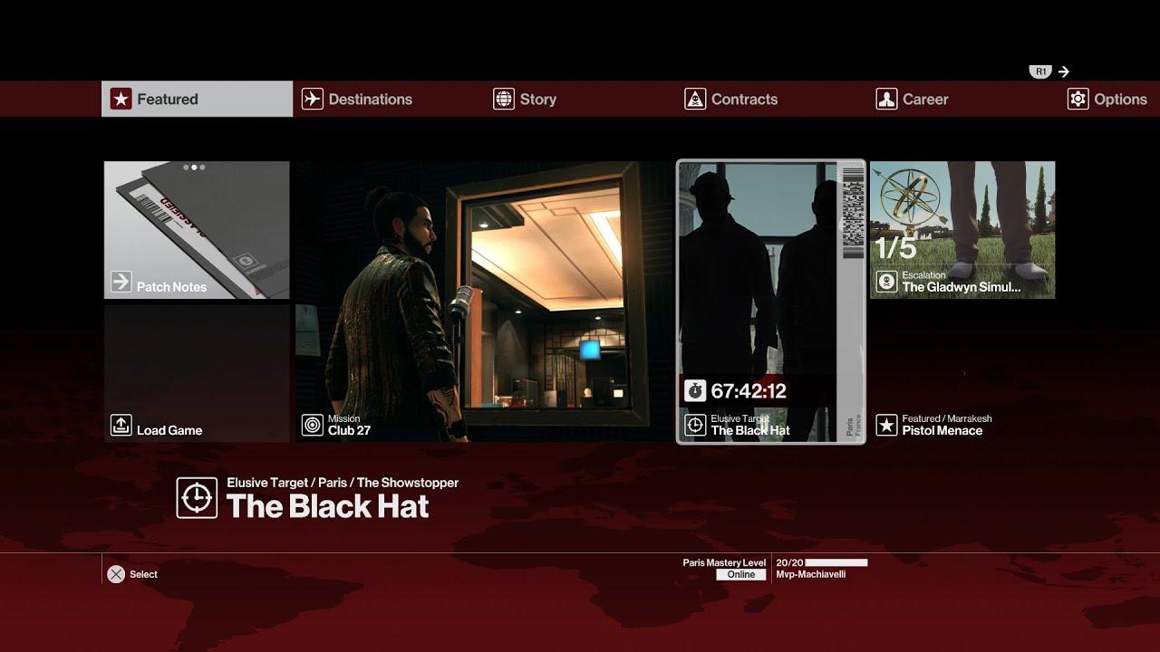 Hitman Elusive Target The Black Hat Silent Assassin Suit Only