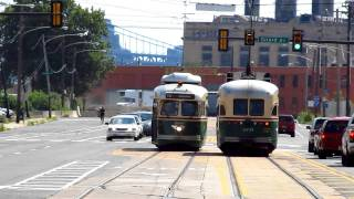 SEPTA 1947 PCC-II Trolley Cars #2333 and #2324 on Richmond Street at Cumberland Street