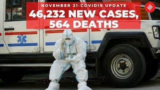 Coronavirus Update Nov 21:India recorded 46,232 new Covid-19 cases, 564 deaths
