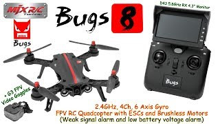 MJX Bugs 8 2.4GHz, 4Ch, 6 Axis Gyro, FPV RC Quadcopter with ESCs and Brushless Motors (RTF)